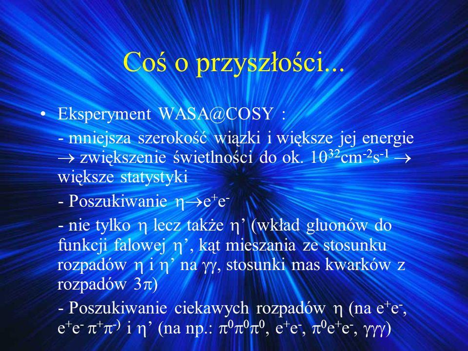 Coś o przyszłości... Eksperyment WASA@COSY : - mniejsza szerokość wiązki i większe jej energie zwiększenie świetlności do ok. 10 32 cm -2 s -1 większe