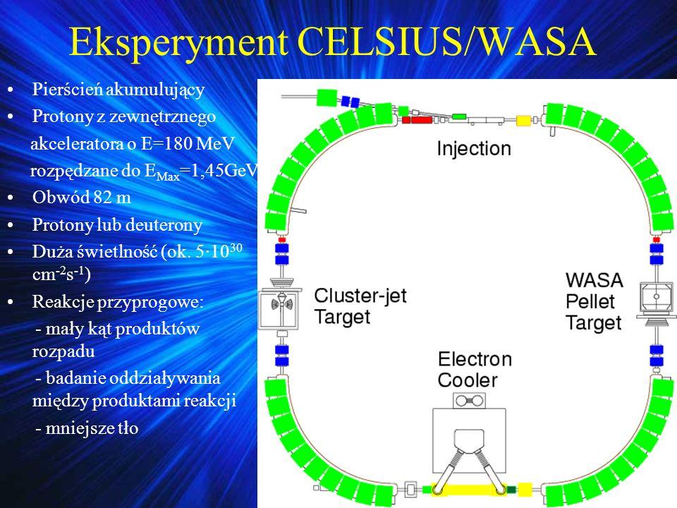 Eksperyment CELSIUS/WASA Pierścień akumulujący Protony z zewnętrznego akceleratora o E=180 MeV rozpędzane do E Max =1,45GeV Obwód 82 m Protony lub deu