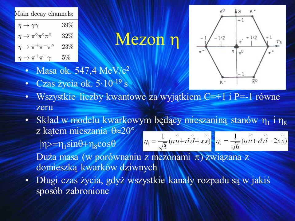 Mezon Masa ok. 547,4 MeV/c 2 Czas życia ok. 5·10 -19 s Wszystkie liczby kwantowe za wyjątkiem C=+1 i P=-1 równe zeru Skład w modelu kwarkowym będący m