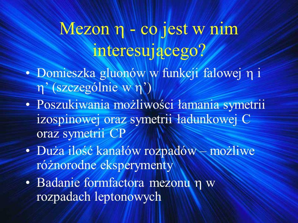 Mezon - co jest w nim interesującego? Domieszka gluonów w funkcji falowej i (szczególnie w ) Poszukiwania możliwości łamania symetrii izospinowej oraz