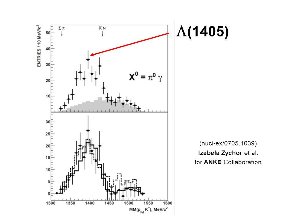 (1405) (nucl-ex/0705.1039) Izabela Zychor et al. for ANKE Collaboration