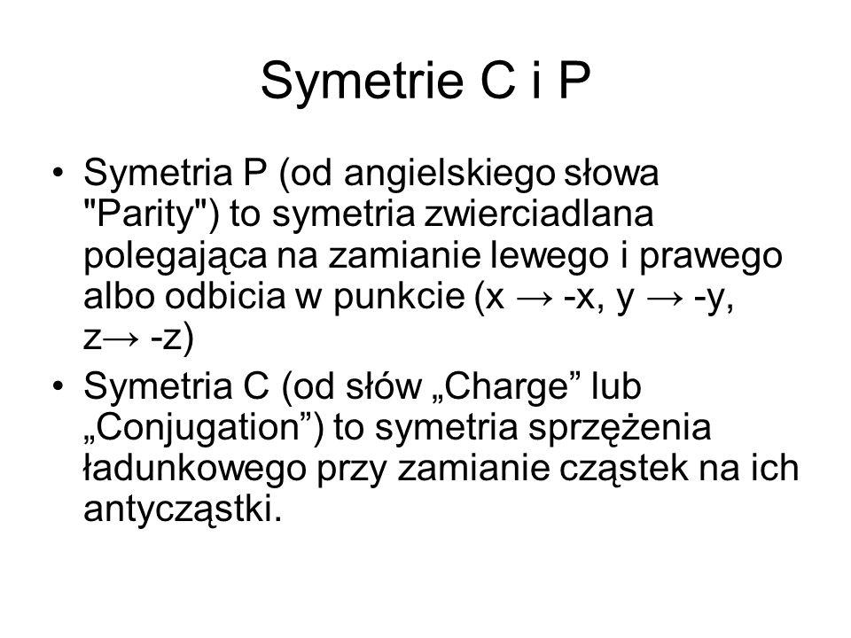 Symetria ładunkowo-przestrzenna CP Symetria ładunkowo-przestrzenna CP oznacza, że dla każdego procesu elementarnego po dokonaniu sprzężenia ładunkowego C i odbicia przestrzennego P, otrzymujemy realny proces fizyczny, który zachodzi z identyczną częstością.