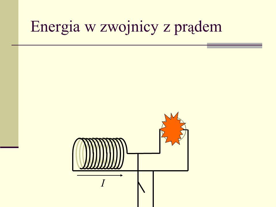 Samoindukcja Sprzeciwia się zmianom natężenia prądu Praca nad zwojnicą A więc LI 2 /2 ma znaczenie energii zwojnicy z prądem Dla długiej zwojnicy a więc L [H]– współczynnik indukcji własnej (samoindukcji) Jednostka 1H (henr) = 1 Vs/A Rząd wielkości: zwojnica jednowarstwowa z drutu 0.7 mm (l = 10 cm, R = 3 cm) – 1 mH