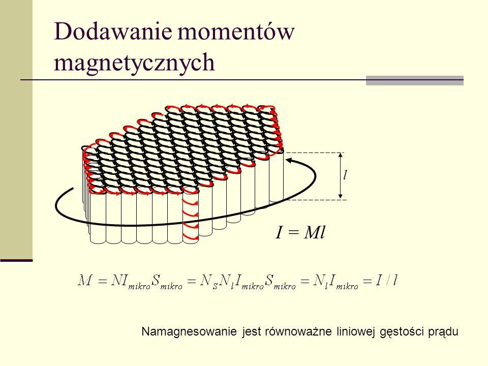 Dodawanie momentów magnetycznych I = Ml Namagnesowanie jest równoważne liniowej gęstości prądu l