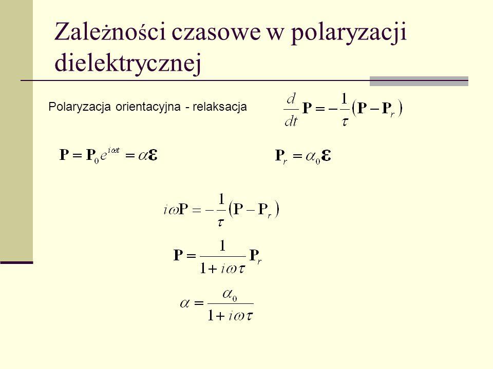 Zale ż no ś ci czasowe w polaryzacji dielektrycznej Polaryzacja orientacyjna - relaksacja