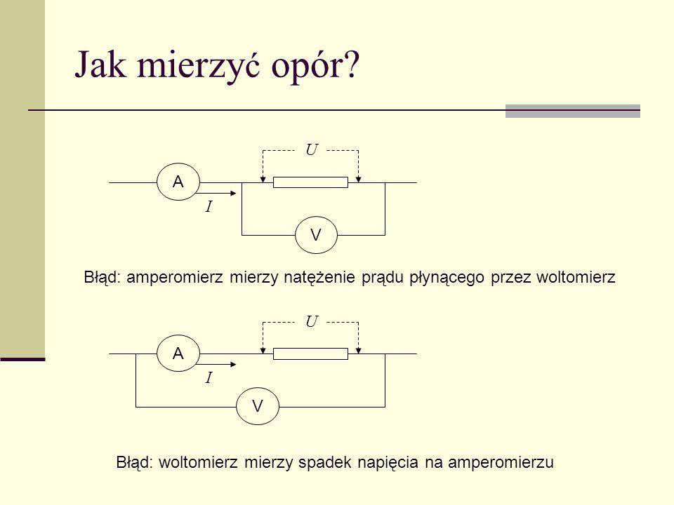 Amperomierz i woltomierz Jeżeli mierniki spełniają prawo Ohma, jest kwestią umowy nazywanie ich amperomierzem lub woltomierzem W praktyce różnią się oporem, np.