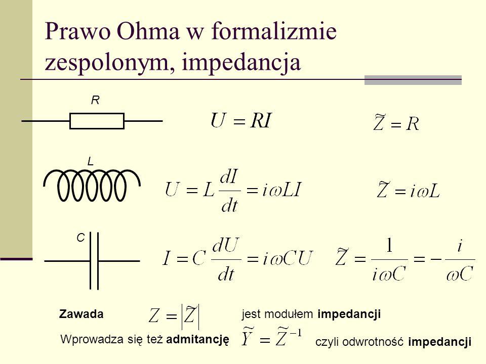 Prawo Ohma w formalizmie zespolonym, impedancja C L R Zawadajest modułem impedancji Wprowadza się też admitancję czyli odwrotność impedancji