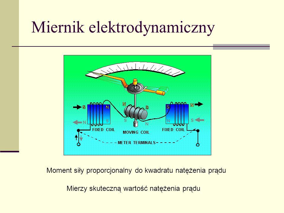 Miernik elektrodynamiczny Moment siły proporcjonalny do kwadratu natężenia prądu Mierzy skuteczną wartość natężenia prądu