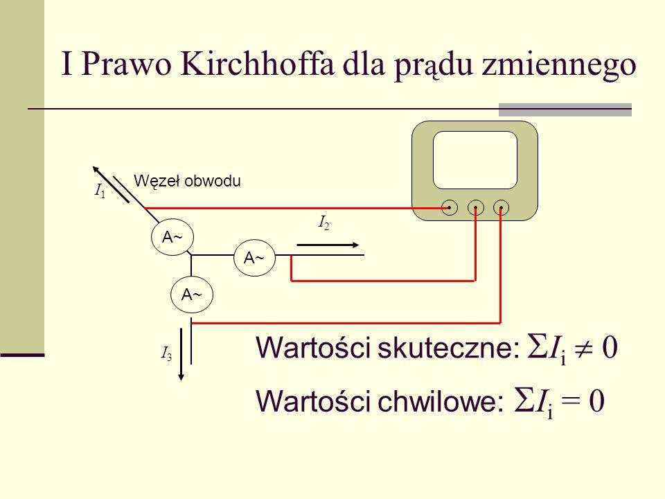 I Prawo Kirchhoffa dla pr ą du zmiennego Węzeł obwodu I3I3 A~ Wartości skuteczne: I i 0 I1I1 I2I2 Wartości chwilowe: I i = 0