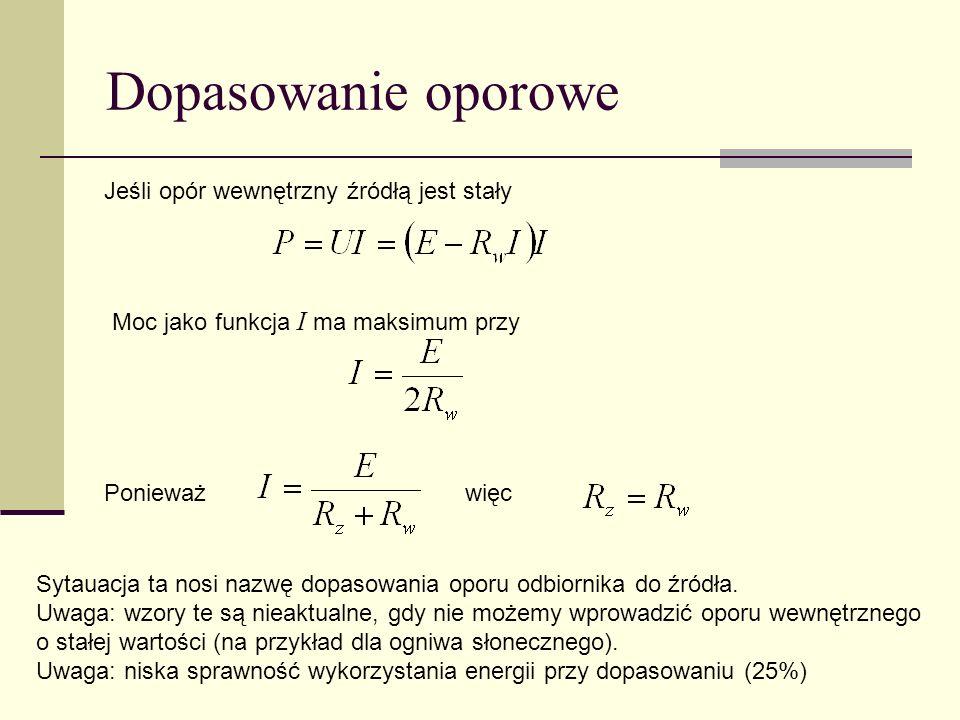 II prawo Kirchhoffa E i = U j Oczko obwodu I1I1 I4I4 I3I3 I2I2 I5I5 R1R1 R2R2 R3R3 C1C1 C2C2 E1E1 E2E2 E i względem kierunku obiegu oczka U i prąd względem kierunku obiegu oczka Na przykład E 2 < 0, U R 1 = - R 1 I 1, U C 2 = + I 5 dt / C 5 + - + -