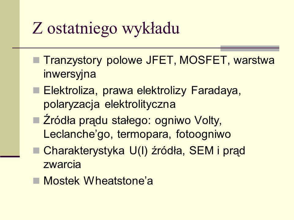 Z ostatniego wykładu Tranzystory polowe JFET, MOSFET, warstwa inwersyjna Elektroliza, prawa elektrolizy Faradaya, polaryzacja elektrolityczna Źródła p