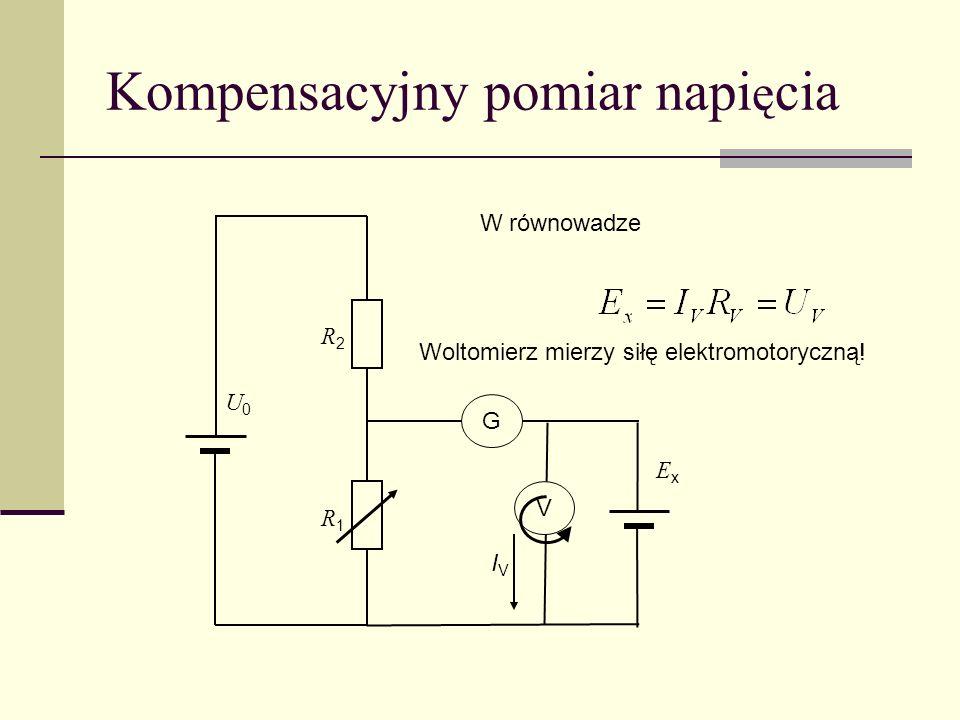 Kompensacyjny pomiar napi ę cia U0U0 R2R2 R1R1 G ExEx W równowadze V IVIV Woltomierz mierzy siłę elektromotoryczną!