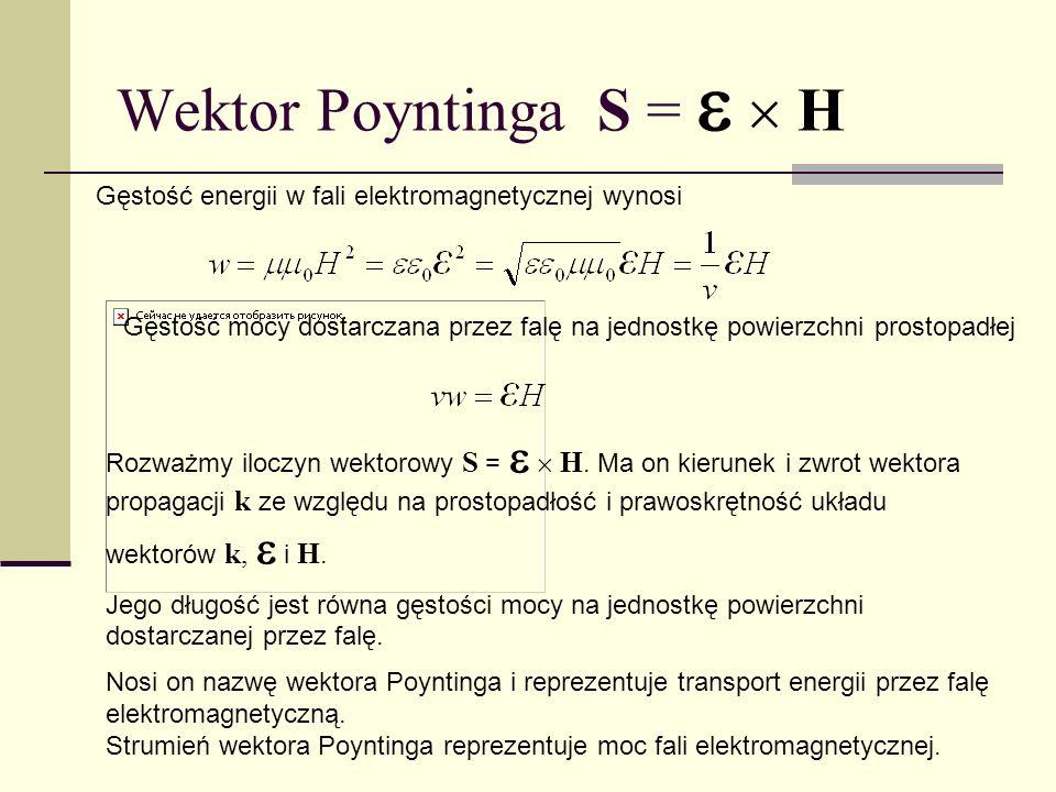 Wektor Poyntinga S = H Rozważmy iloczyn wektorowy S = H. Ma on kierunek i zwrot wektora propagacji k ze względu na prostopadłość i prawoskrętność ukła