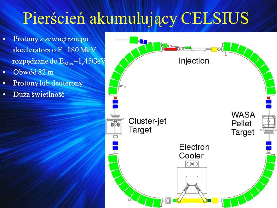 Pierścień akumulujący CELSIUS Protony z zewnętrznego akceleratora o E=180 MeV rozpędzane do E Max =1,45GeV Obwód 82 m Protony lub deuterony Duża świetlność