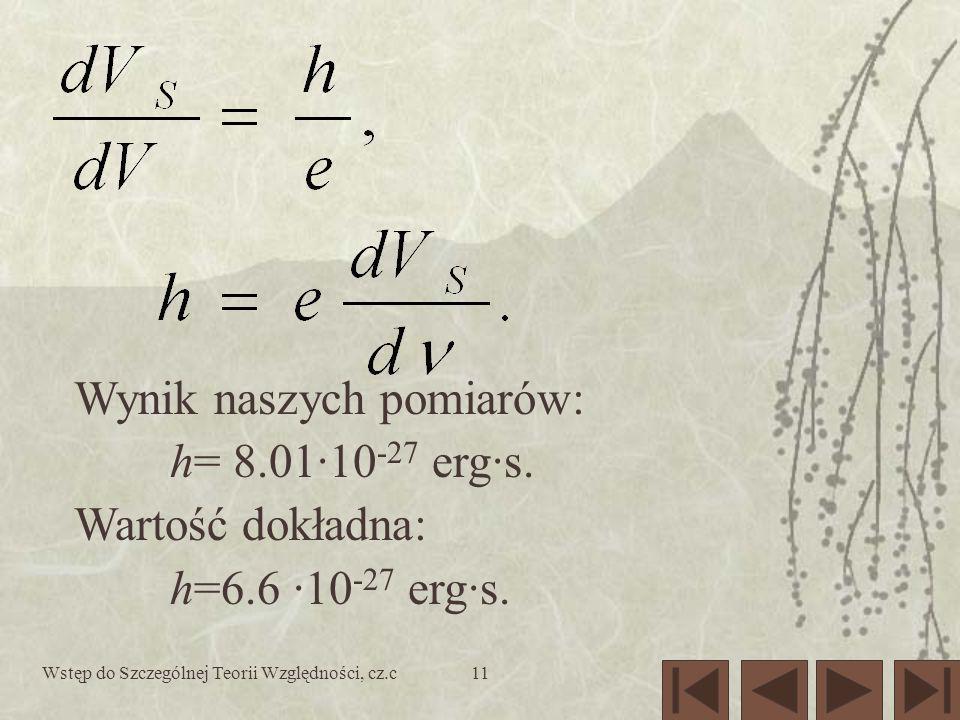 Wstęp do Szczególnej Teorii Względności, cz.c11 Wynik naszych pomiarów: h= 8.01·10 -27 erg·s. Wartość dokładna: h=6.6 ·10 -27 erg·s.