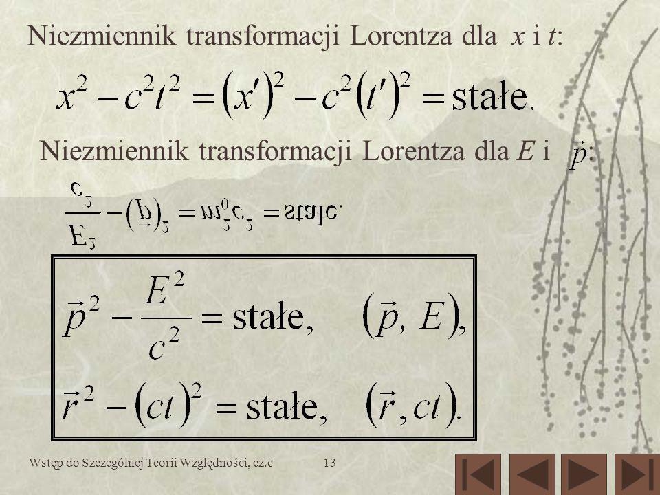 Wstęp do Szczególnej Teorii Względności, cz.c13 Niezmiennik transformacji Lorentza dla x i t: Niezmiennik transformacji Lorentza dla E i :