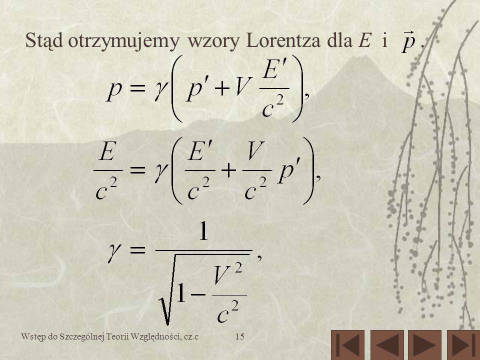 Wstęp do Szczególnej Teorii Względności, cz.c15 Stąd otrzymujemy wzory Lorentza dla E i.