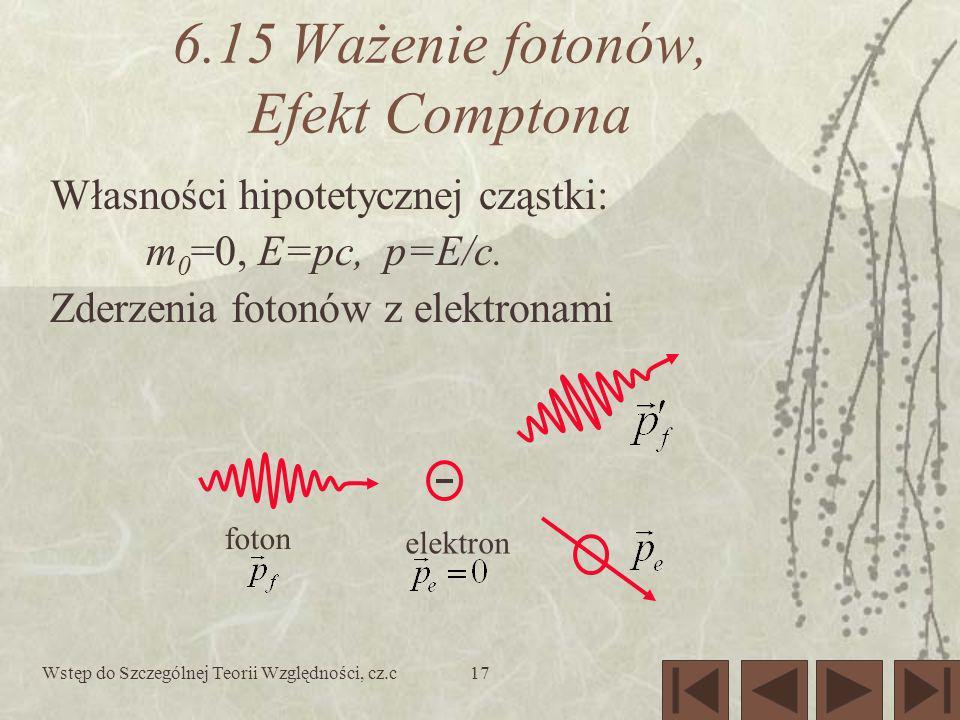 Wstęp do Szczególnej Teorii Względności, cz.c17 6.15 Ważenie fotonów, Efekt Comptona foton elektron Własności hipotetycznej cząstki: m 0 =0, E=pc, p=E/c.