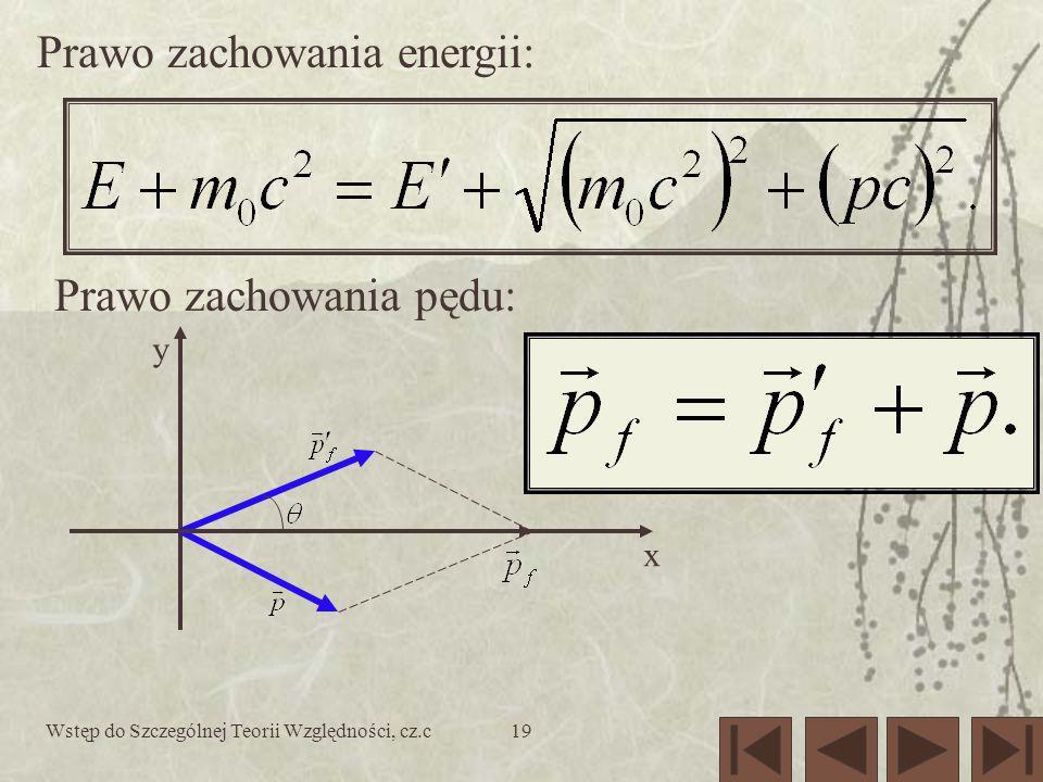 Wstęp do Szczególnej Teorii Względności, cz.c19 y x Prawo zachowania energii: Prawo zachowania pędu: