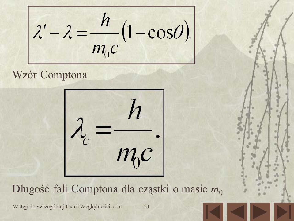 Wstęp do Szczególnej Teorii Względności, cz.c21 Wzór Comptona Długość fali Comptona dla cząstki o masie m 0