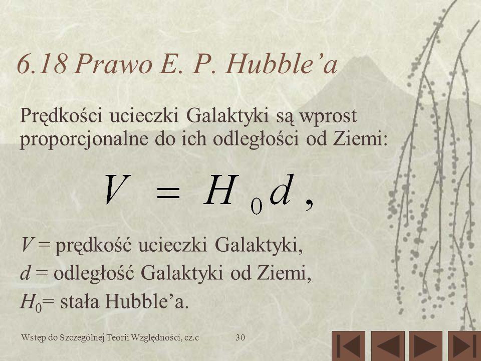Wstęp do Szczególnej Teorii Względności, cz.c30 6.18 Prawo E. P. Hubblea Prędkości ucieczki Galaktyki są wprost proporcjonalne do ich odległości od Zi