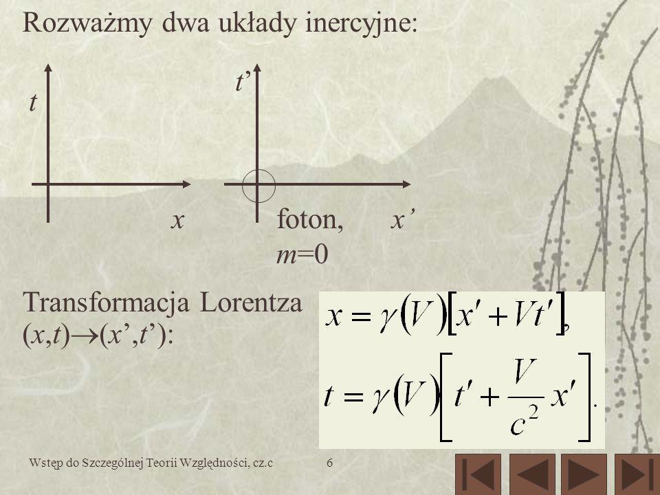 Wstęp do Szczególnej Teorii Względności, cz.c6 xx t t foton, m=0 Rozważmy dwa układy inercyjne: Transformacja Lorentza (x,t) (x,t):