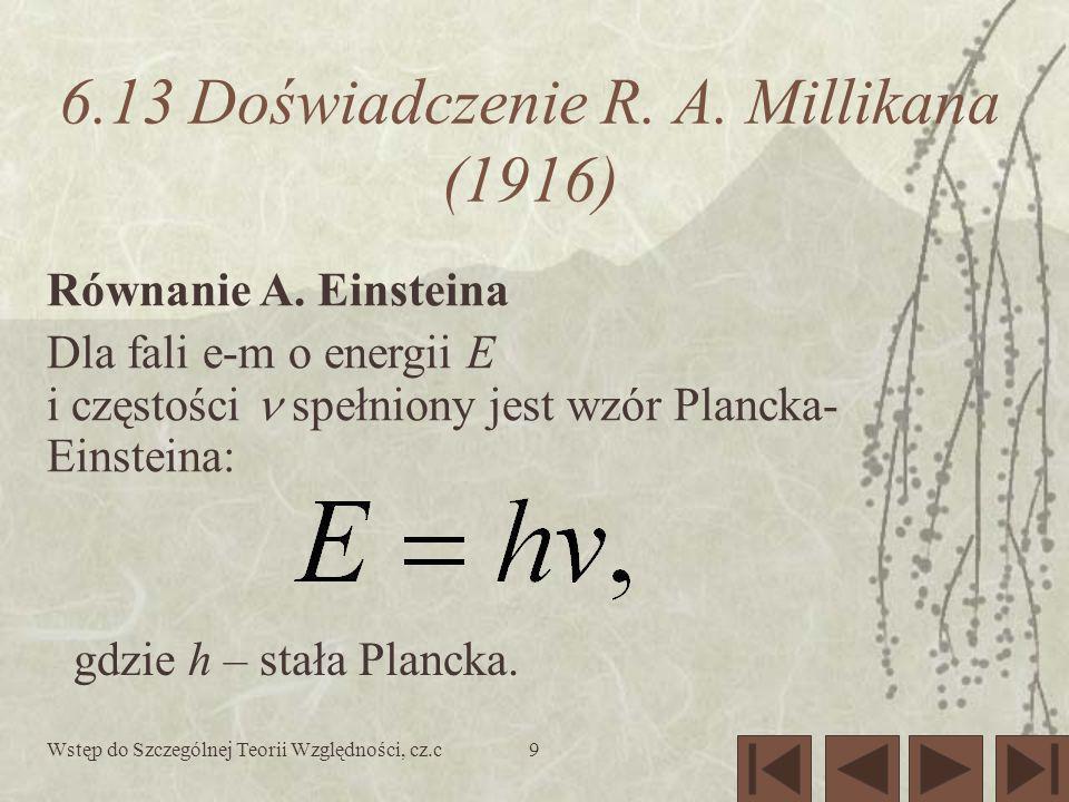 Wstęp do Szczególnej Teorii Względności, cz.c9 6.13 Doświadczenie R. A. Millikana (1916) Równanie A. Einsteina Dla fali e-m o energii E i częstości sp