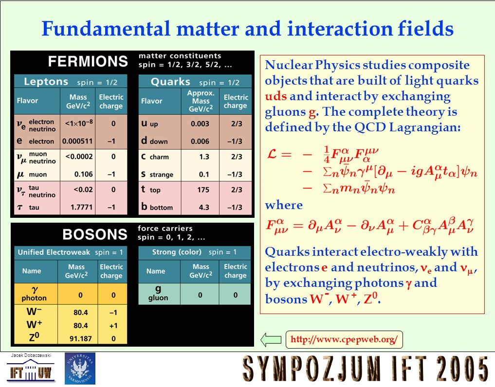 Jacek Dobaczewski http://www.cpepweb.org/ Fundamental matter and interaction fields Nuclear Physics studies composite objects that are built of light quarks uds and interact by exchanging gluons g.