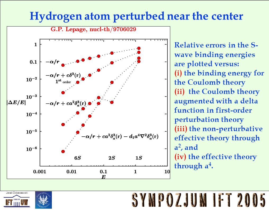Jacek Dobaczewski Hydrogen atom perturbed near the center Relative errors in the S- wave binding energies are plotted versus: (i) the binding energy for the Coulomb theory (ii) the Coulomb theory augmented with a delta function in first-order perturbation theory (iii) the non-perturbative effective theory through a 2, and (iv) the effective theory through a 4.