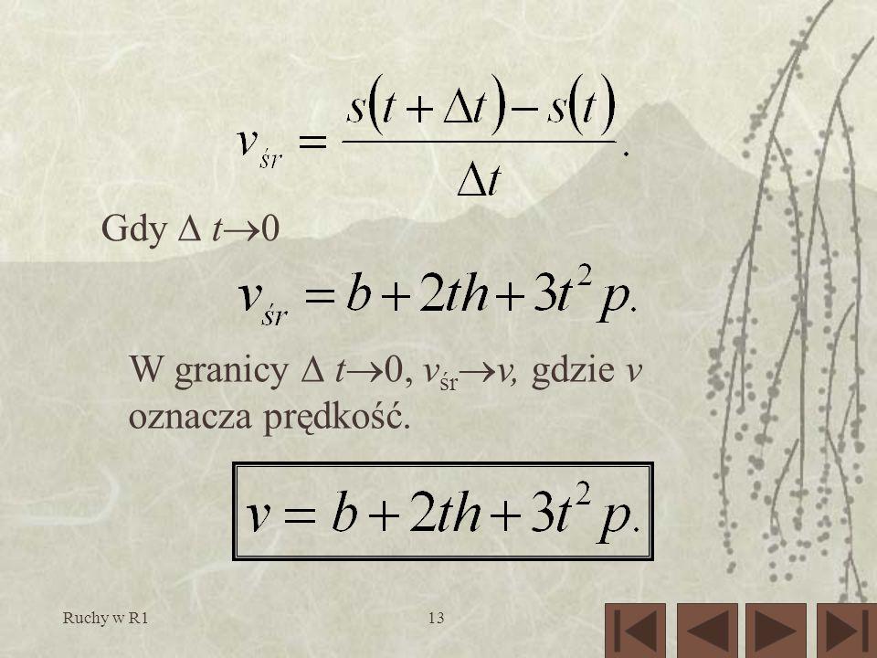 Ruchy w R113 Gdy t 0 W granicy t 0, v śr v, gdzie v oznacza prędkość.