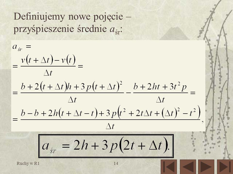 Ruchy w R114 Definiujemy nowe pojęcie – przyśpieszenie średnie a śr :