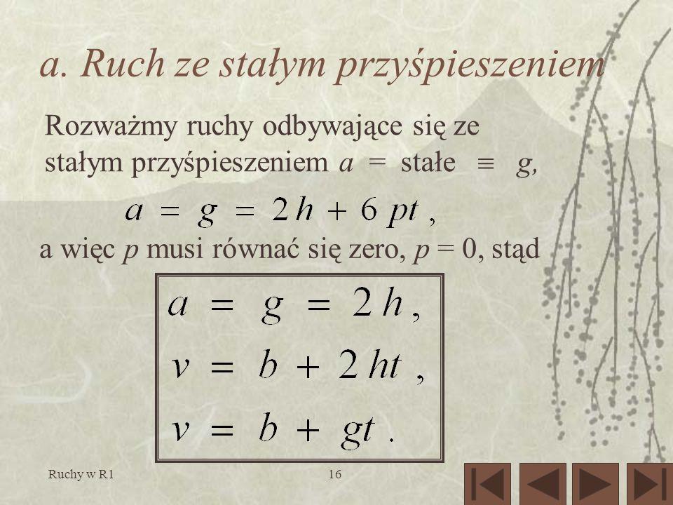 Ruchy w R116 a. Ruch ze stałym przyśpieszeniem Rozważmy ruchy odbywające się ze stałym przyśpieszeniem a = stałe g, a więc p musi równać się zero, p =