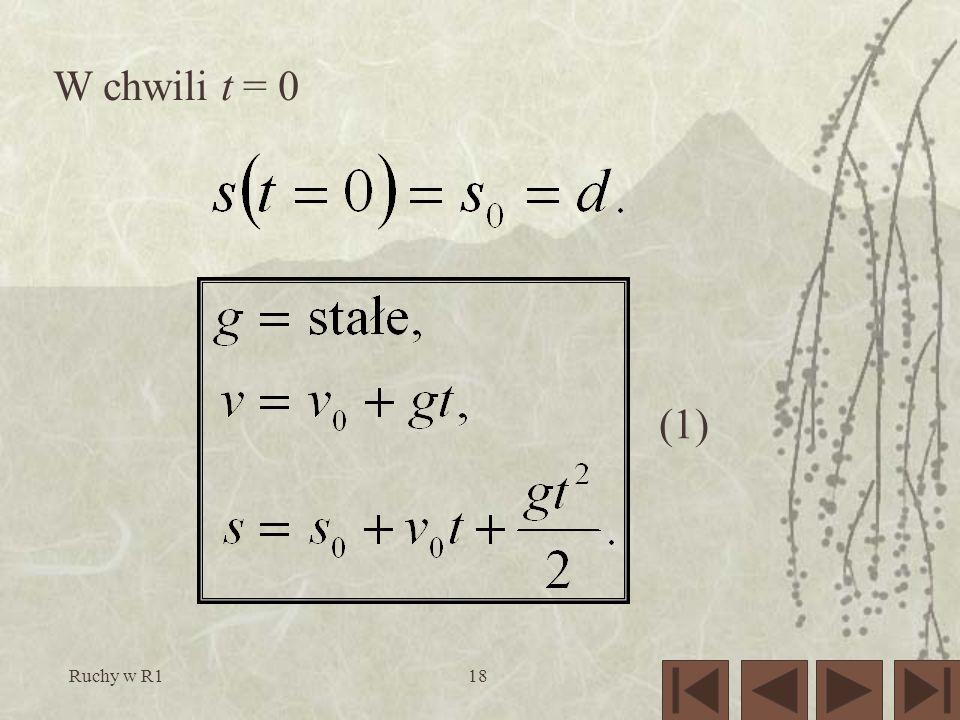 Ruchy w R118 (1) W chwili t = 0