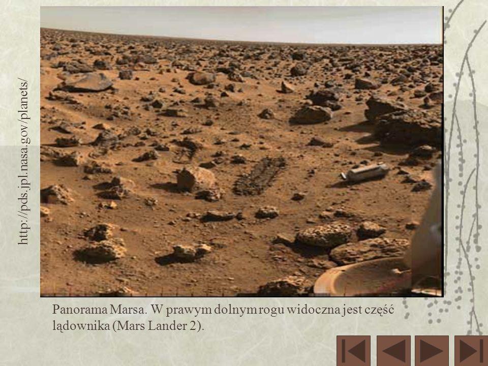 http://pds.jpl.nasa.gov/planets/ Panorama Marsa. W prawym dolnym rogu widoczna jest część lądownika (Mars Lander 2).