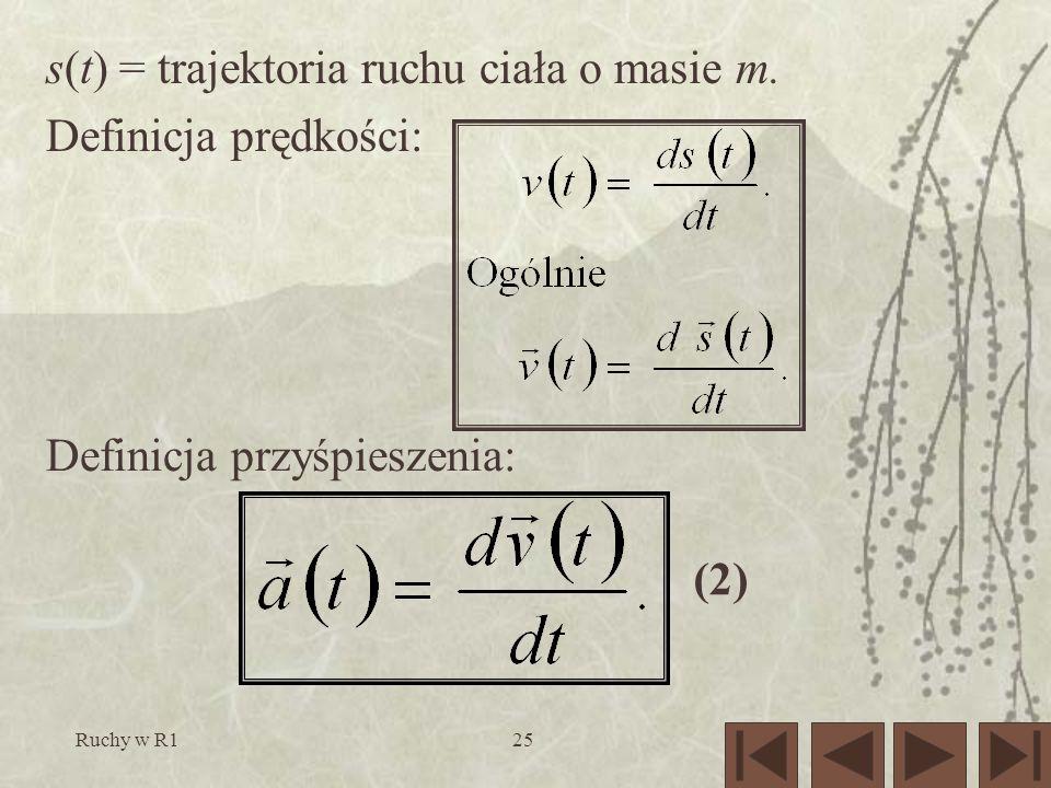 Ruchy w R125 (2) s(t) = trajektoria ruchu ciała o masie m. Definicja prędkości: Definicja przyśpieszenia: