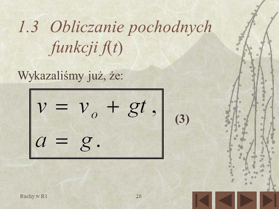 Ruchy w R126 1.3 Obliczaniepochodnych funkcji f(t) (3) Wykazaliśmy już, że: