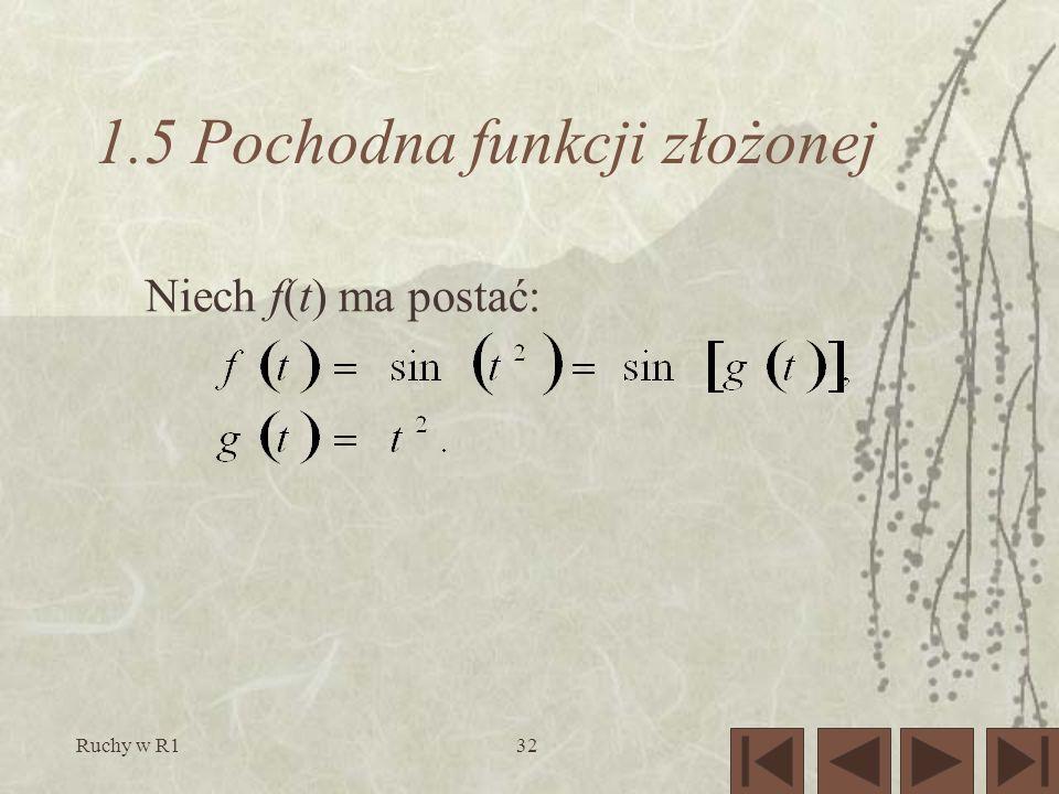 Ruchy w R132 1.5 Pochodna funkcji złożonej Niech f(t) ma postać: