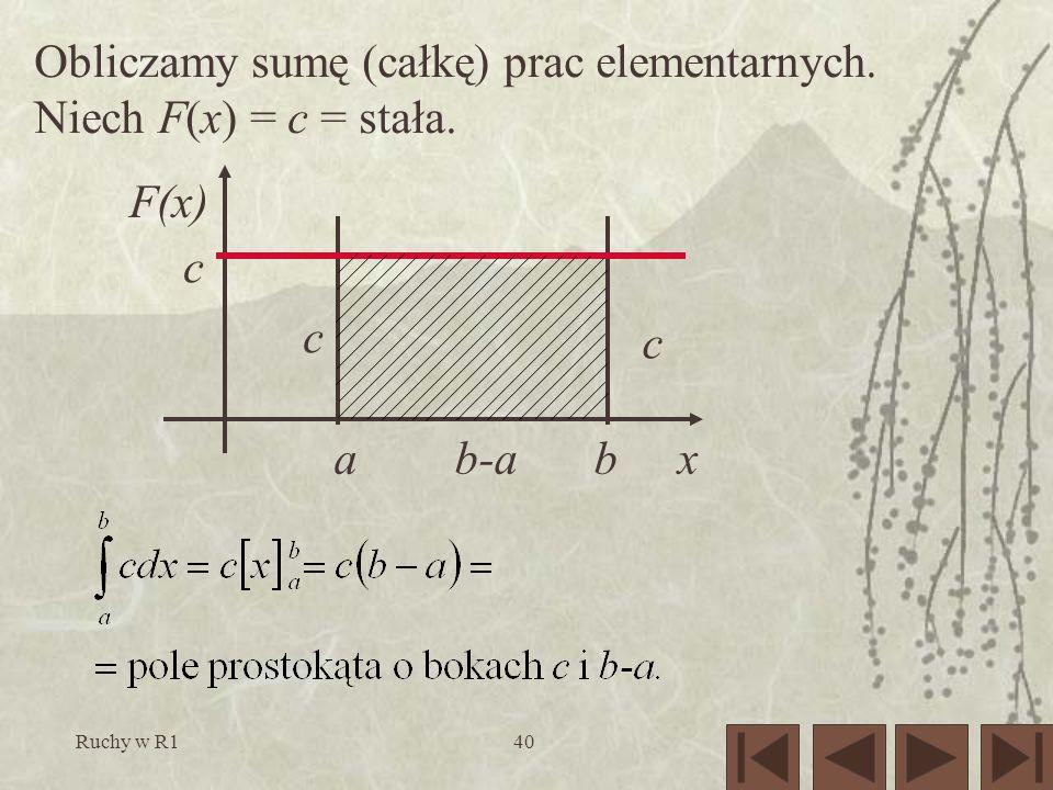 Ruchy w R140 Obliczamy sumę (całkę) prac elementarnych. Niech F(x) = c = stała. F(x) xa b b-a c c c