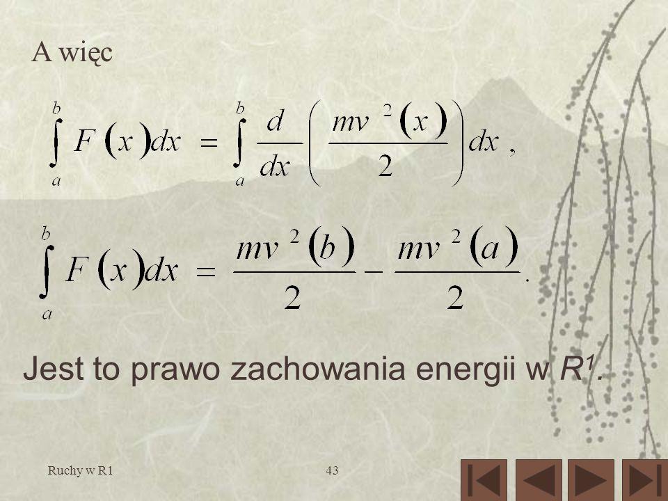 Ruchy w R143 A więc Jest to prawo zachowania energii w R 1.