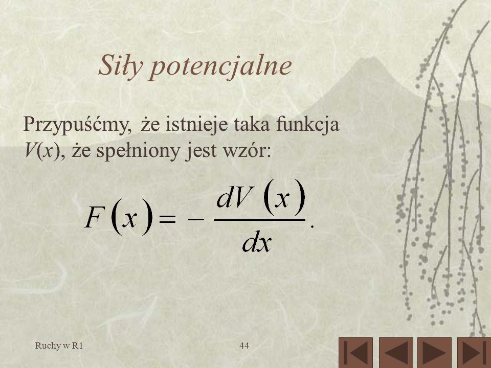 Ruchy w R144 Siły potencjalne Przypuśćmy, że istnieje taka funkcja V(x), że spełniony jest wzór: