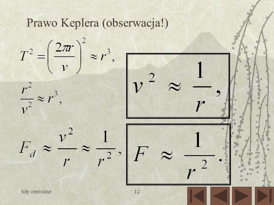 Siły centralne12 Prawo Keplera (obserwacja!)