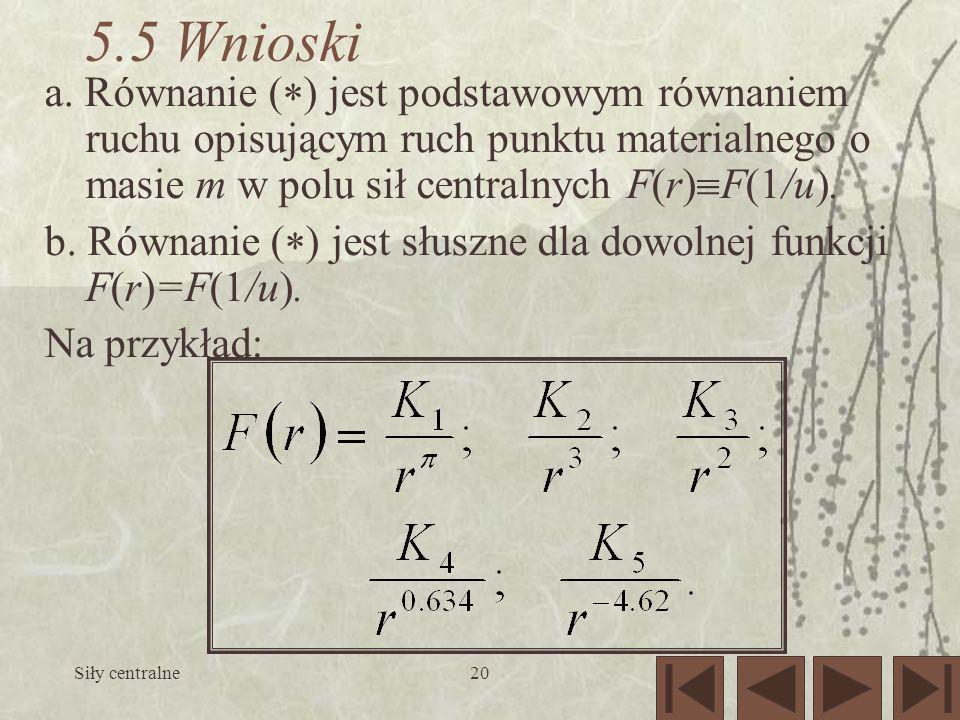 Siły centralne20 5.5 Wnioski a. Równanie ( ) jest podstawowym równaniem ruchu opisującym ruch punktu materialnego o masie m w polu sił centralnych F(r