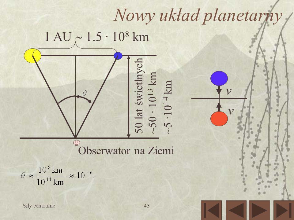 Siły centralne43 Nowy układ planetarny 1 AU 1.5 · 10 8 km 50 lat świetlnych ~50 · 10 13 km ~5 ·10 14 km Obserwator na Ziemi v v