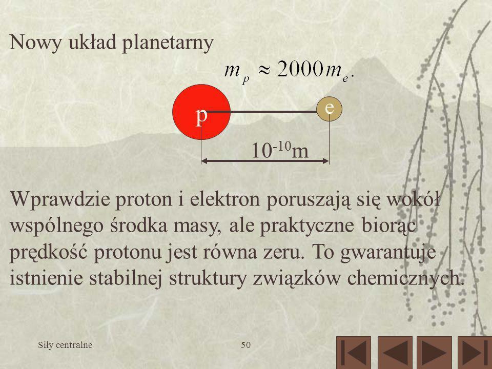 Siły centralne50 Nowy układ planetarny Wprawdzie proton i elektron poruszają się wokół wspólnego środka masy, ale praktyczne biorąc prędkość protonu j