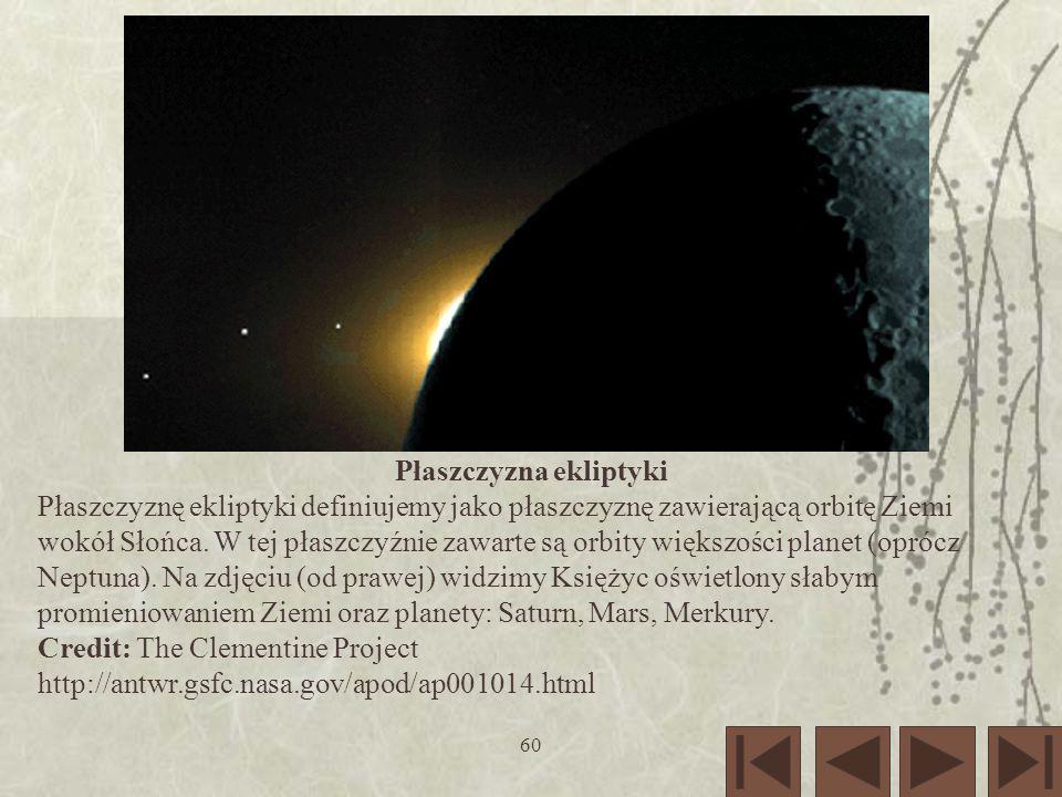 60 Płaszczyzna ekliptyki Płaszczyznę ekliptyki definiujemy jako płaszczyznę zawierającą orbitę Ziemi wokół Słońca. W tej płaszczyźnie zawarte są orbit