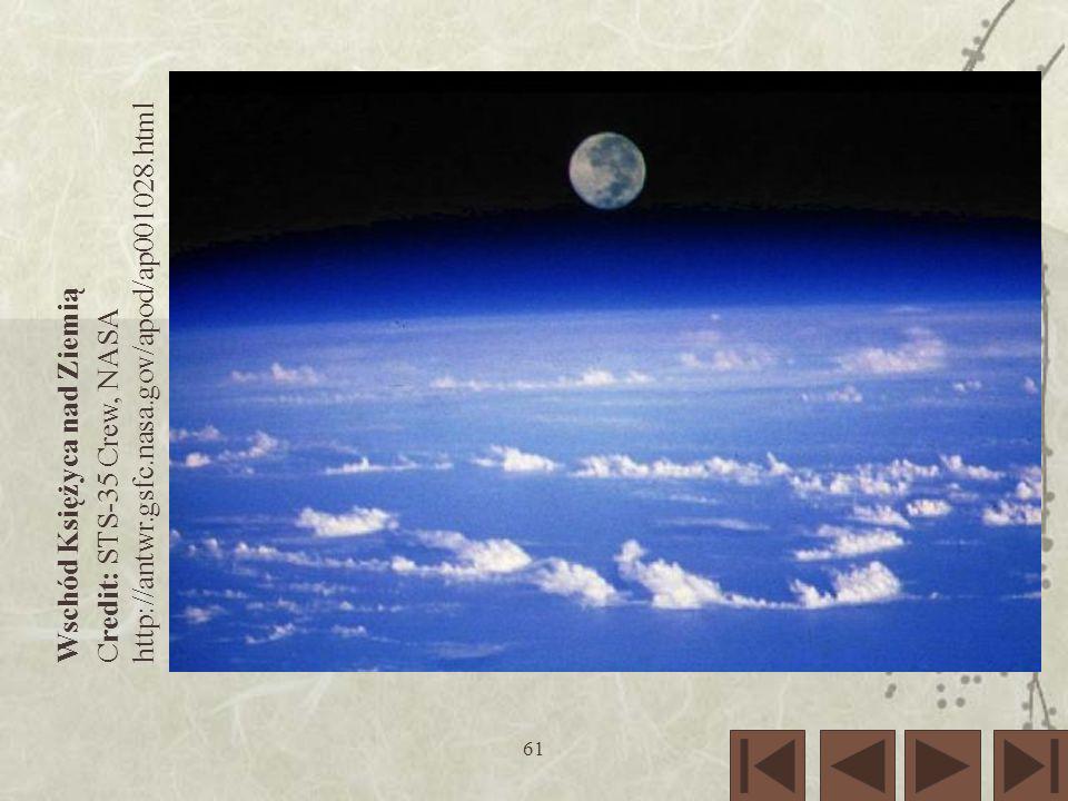61 Wschód Księżyca nad Ziemią Credit: STS-35 Crew, NASA http://antwr.gsfc.nasa.gov/apod/ap001028.html