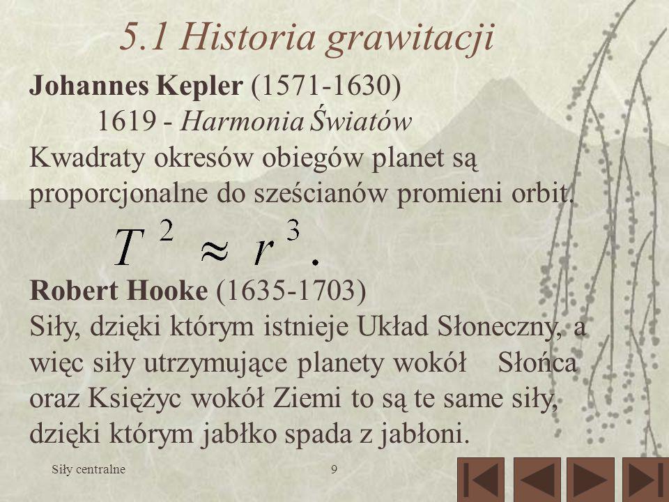 Siły centralne9 5.1 Historia grawitacji Johannes Kepler (1571-1630) 1619 - Harmonia Światów Kwadraty okresów obiegów planet są proporcjonalne do sześc