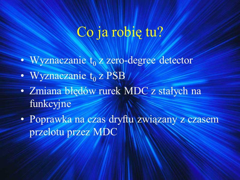 Co ja robię tu? Wyznaczanie t 0 z zero-degree detector Wyznaczanie t 0 z PSB Zmiana błędów rurek MDC z stałych na funkcyjne Poprawka na czas dryftu zw