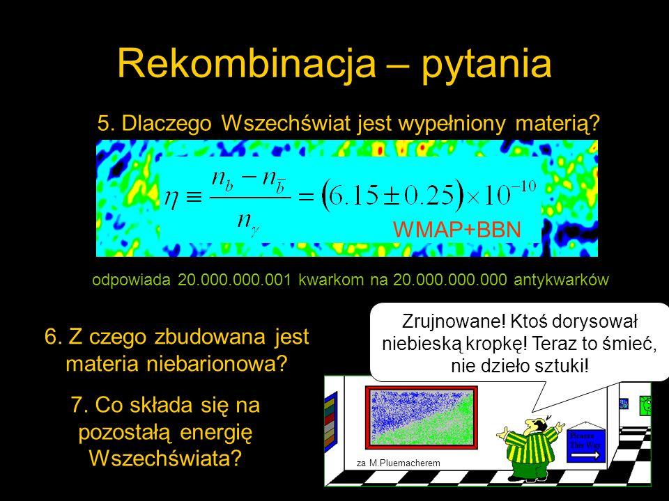 Rekombinacja – pytania Pytania, na które odpowiedzi udzielić może (i powinna) fizyka cząstek elementarnych Próby odpowiedzi wskazują na konieczność rozszerzenia Modelu Standardowego cząstek elementarnych
