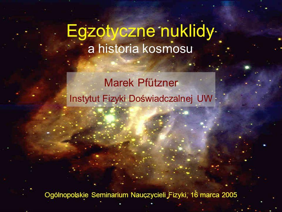 Egzotyczne nuklidy a historia kosmosu Ogólnopolskie Seminarium Nauczycieli Fizyki, 16 marca 2005 Marek Pfützner Instytut Fizyki Doświadczalnej UW